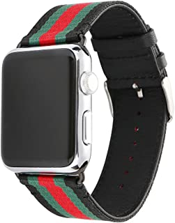 HUANLONG Compatible with Apple Watch Band, Nylon with Genuine Leather Sport Replacement Strap Wrist Band with Metal Adapter Clasp - 42mm- Red/Green/Black