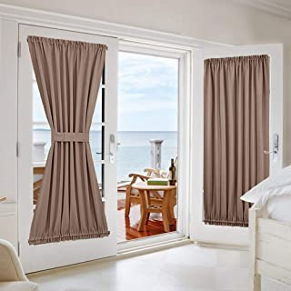 NICETOWN Blackout Panel for French Door - Thick Privacy Blackout Curtain for Glass Door/French Door with Adjustable Tie-Back (1 Piece, W54 x L72 inches, Cappuccino)