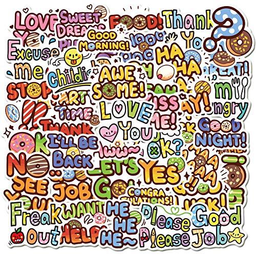 XXCKA 50 Piezas Inspiradoras Frases en inglés Pegatinas de Graffiti Maleta portátil Taza de Agua eléctrica Pegatinas de Nevera Pegatinas
