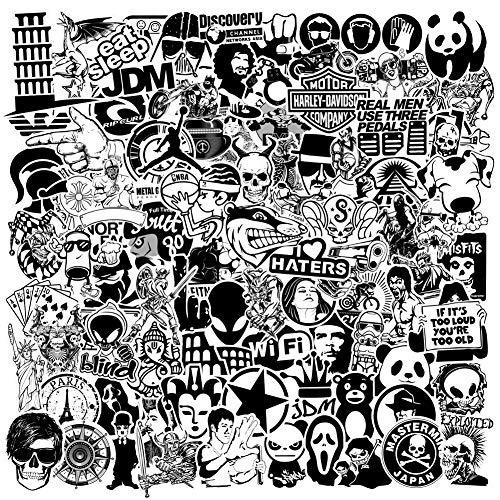 PRETTYSUNSHINE 120 Stücke Schwarz Weiß Aufkleber Graffiti Sticker für Koffer Laptop Helm Auto Motorrad Fahrrad Skateboard Scrapbook Ordner, Wasserdicht Vinyl Sticker