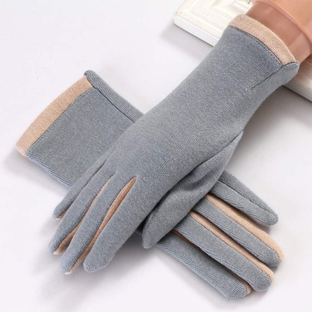 Gloves New Women's Spring and Autumn Elastic Touch Screen Warm Cute Riding (Color : Blue)
