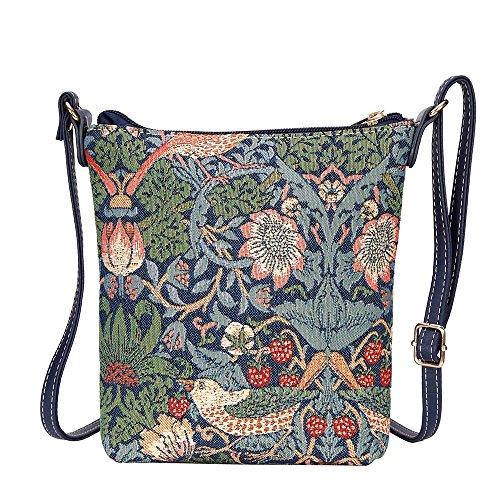 Signare Tapisserie Kleine Tasche Damen, Handtasche Damen Klein, Reisepass Tasche, Mini Handtasche (Erdbeerdieb Blau)