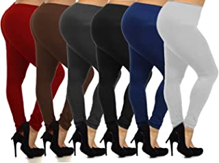 6-Pack: Women's Free to Live Seamless Lined Leggings Basic Solid 6 Colors- One Size