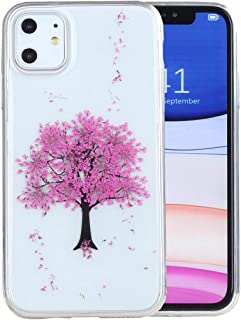 iPhone 11 Case, iYCK Handmade [Real Dried Flower] Pressed Floral Flexible Soft Rubber TPU Protective Shell Bumper Back Case Cover for Apple iPhone 11 6.1 inch 2019 - Pink Tree