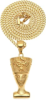 Bigbabybig Nefertiti Pendant Chain Necklaces for Women Men Sets 24k Gold Finish Stainless Steel Egyptian Queen Chunky Dain...