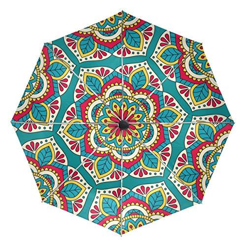 Jereee Colorful Boho Flower Pattern Compact Travel Umbrella, Outdoor Rain Sun Car Folding Reversible Umbrellas for Windproof, Reinforced Canopy, UV Protection, Ergonomic Handle, Auto Open/Close