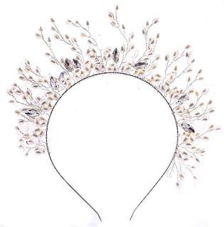 TnSok Corona da Sposa Cerchietto per Festa di Nozze, Ornamenti per Testa per Donne e Ragazze con Perle, Copricapo da Princ...
