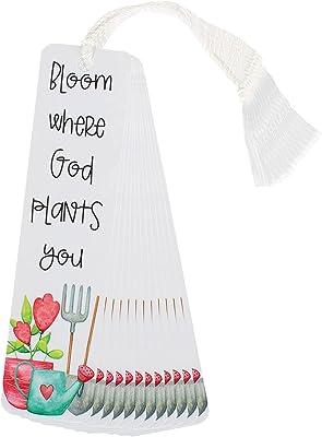 Bloom Where Plants White 6 x 2 Cardstock Keepsake Tassels Bookmarks Pack of 12