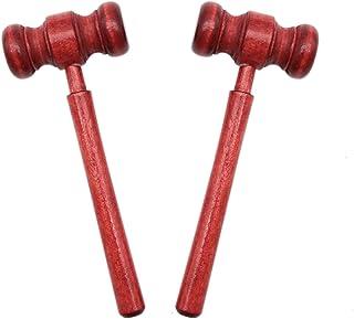 AQUEENLY Gavel Costume, 2PCS Wooden Judge Gavel Courtroom Prop for Meeting, Red