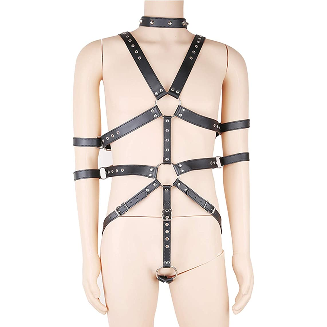 NISHISHABI Men's Knights Leather Body Chest Harness Shoulder Guard Armour Costumes Black