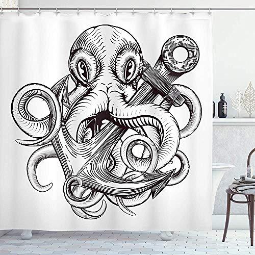 Anker Douche Gordijn Monochroom Octopus Tattoo Art Stijl Naval Schets Mythische Kraken Beest Ontwerp Doek Stof Badkamer Decor Set met Haken Wit Bruin 66 * 72in