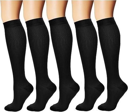 MojaSports Graduated Compression Socks (5 Pair) Athletic Medical Use for Men Women