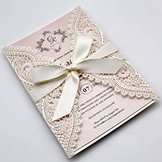 Picky Bride 25-Pack White Lace Laser Cut Wedding Invitations with Blush Pink Shimmer Insert, Elegant Invite Cards for Wedding/Sweet Sixteen/Baby Shower/Bridal Shower/Birthday Party