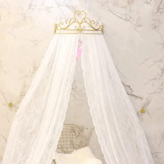KID LOVE Crown Princess Bed Canopy Lace Mosquito Net for Girls Hanging Play Tent for Kids Bedroom-a