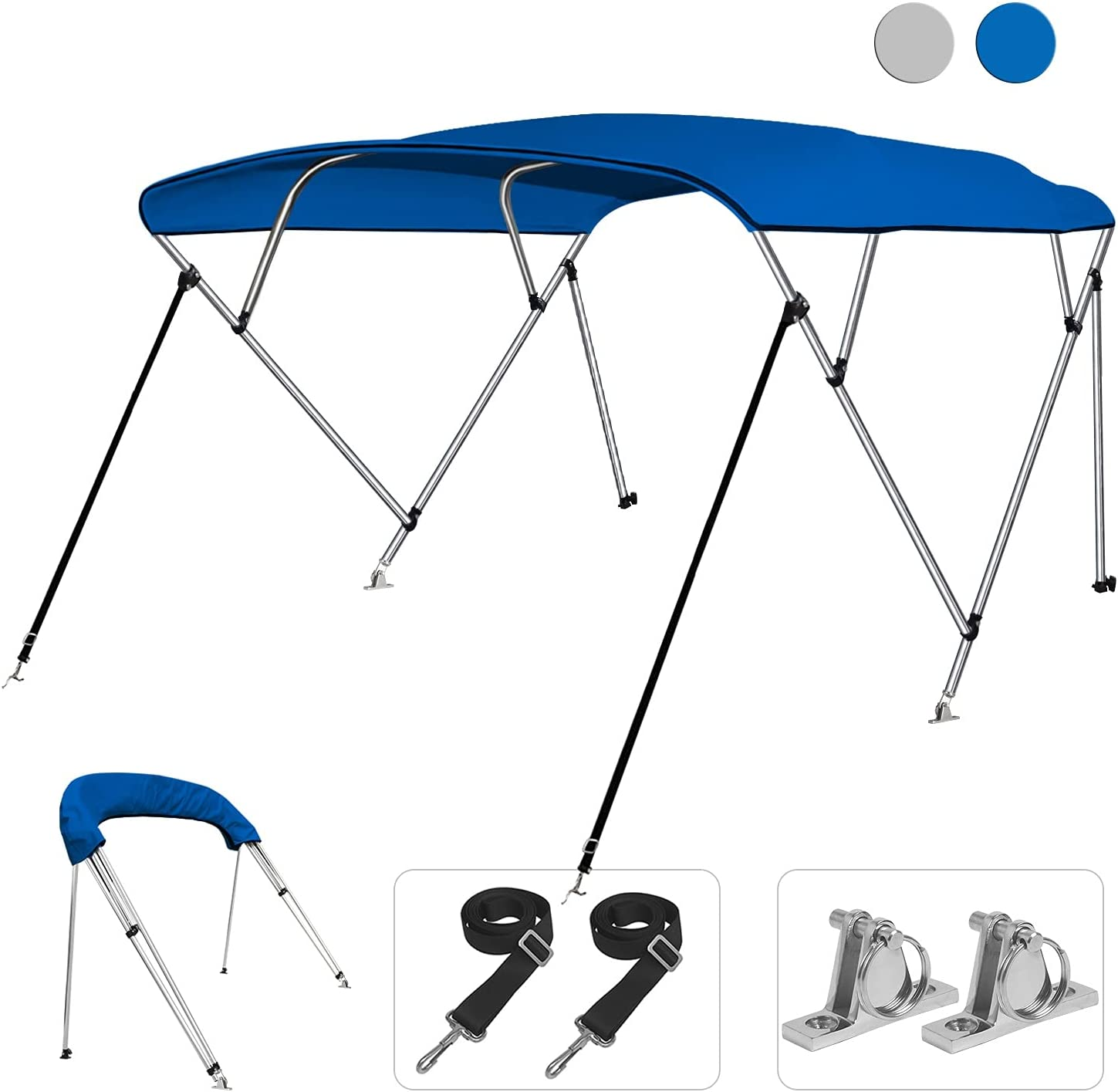 KAKIT 750D 3 4 Bow Genuine Bimini Top 2 Support Pol Boat Virginia Beach Mall with Cover Rear