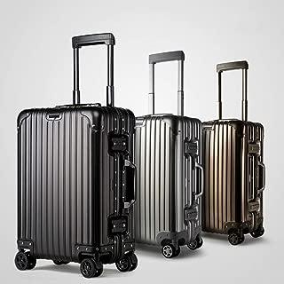 WHPSTZ Trolley Case Aluminum Trolley Case Double Row Caster Suitcase Universal Wheel Aluminum Trolley Case Trolley case (Color : Silver, Size : 24 inches)