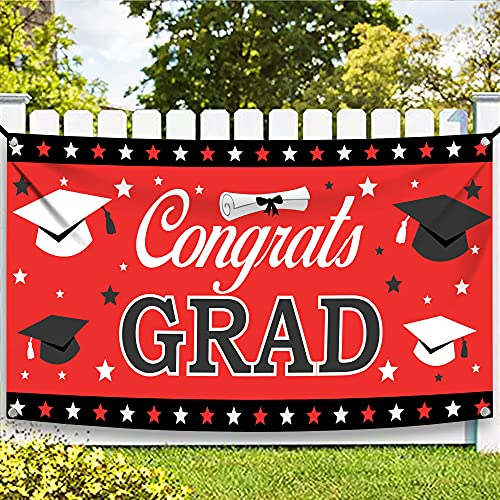 XtraLarge Congrats Grad Banner 2021 - 72x44 Inch | Graduation Banner for Graduation Party Supplies 2021 | Graduation Decorations 2021 Red and Black | Class of 2021 Sign for Graduation Decorations 2021