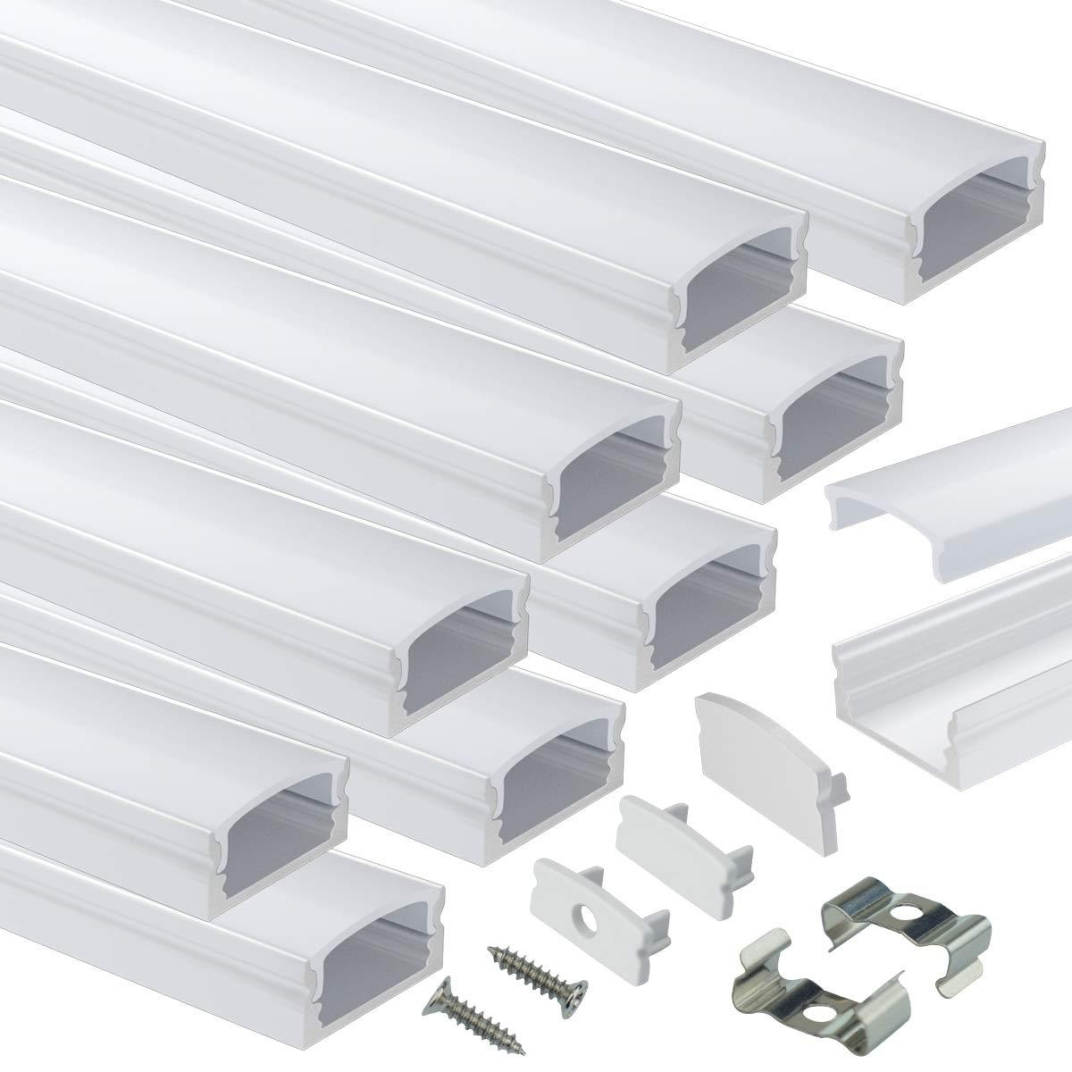 Muzata 10Pack 6.6ft 2M Max 51% OFF U Classic Shape Channel LED with System Aluminum