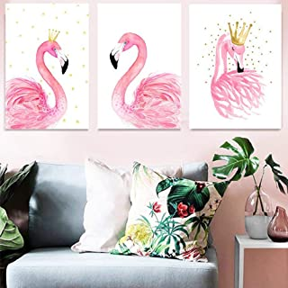 3pcs Canvas Print Wall Décor Art Elegant Pink Flamingo King Queen Pictures Prints Animal Bird Sweet Love Modern Wall Painting Artwork for Home Office Bedroom Study Decorations, Unframed 16