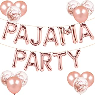 Pajama Party Decorations Rose Gold Pajama Party Balloons Banner Girls Slumber Sleepover Birthday Party Decor, PJ Mask Spa ...