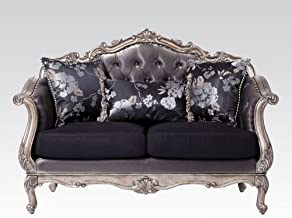 Acme Furniture Loveseat with Three Pillows in Silver Gray and Antique Platinum
