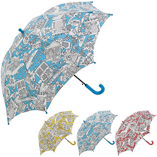 Bisetti Paint - Clima Paraguas Infantil Automático   Paraguas Antiviento Coloreable Ideal para Viajes, Niño y Niña, Azul