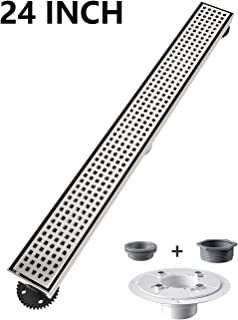 Ushower Linear Shower Drain 24 Inch, Square Pattern Grate Brushed Nickel Stainless Steel Linear Drain with Drain flange kit
