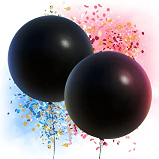 """Gender Reveal Balloon 36"""" - 2 Black Sphere Balloons with 2 Packs Pink and Blue Confetti"""