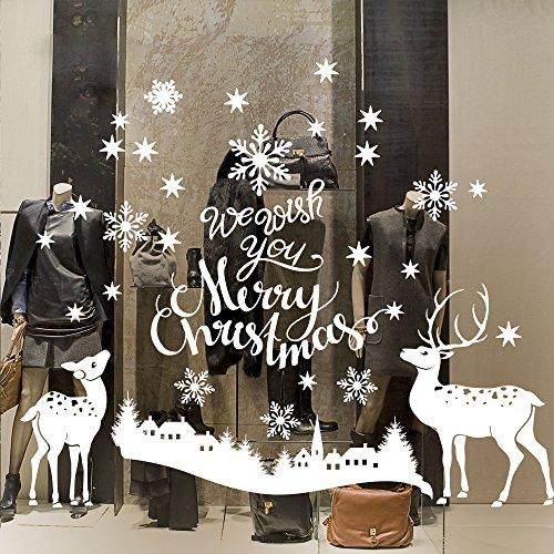 NT0403 Adesivi Murali Vetrofanie natalizie - Paesaggio con renne - Misure 120x90 cm - bianco - Vetrine negozi per Natale, stickers, adesivi