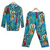 iinfinize Algodón pijama y camisa algodón noche dormir desgaste para las mujeres batas de algodón para mujer pijama conjunto para las mujeres ropa de dormir bloque impreso ropa de dormir tamaño XXL