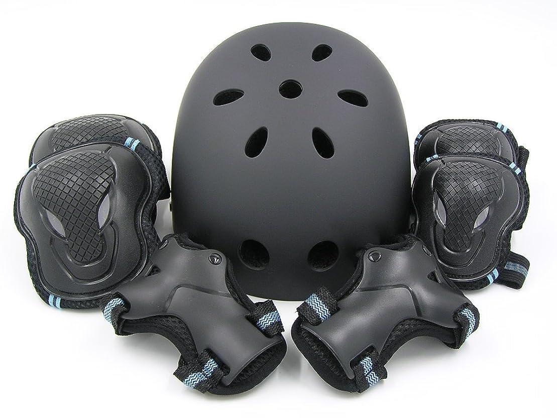 連合光沢消去(エムズダイス)M's Dice ヘルメット & プロテクター 3点 セット ( 手首/ひじ/ひざ パッド ) 3カラー S~L サイズ スケボー ローラースケート