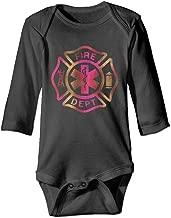 Rdiep Unisex Cotton Long Sleeve Firefighter Fire Department Rescue EMT Newborn Baby Girls' Boys' Onesies Bodysuit Jumpsuit