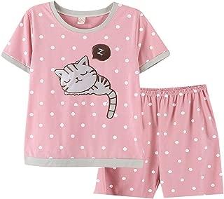 Big Girls Cute Cat Pink Poka Dot Short Pajamas Set Sleepwear(6y-16y)