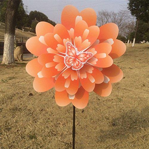 Qiman Papillon Pivoine Fleur coloré à Vent Moulin à Vent Maison Décor de Jardin Neuf See as pic Orange