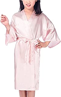 Kids Girls Satin Silk Kimono Robe Bathrobe Nightgown Bridesmaid Sleepwear for Spa Party Wedding Birthday