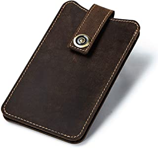 Leather Bag Mens Bovine Mobile Phone Bag Thin Man Handbag Fashion Retro Waist Leather Wallet High Capacity (Color : Brown, Size : S)
