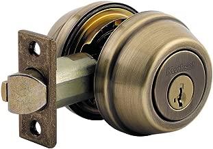 Kwikset 599 Gatelatch Double Cylinder Deadbolt featuring SmartKey in Antique Brass