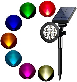 YUMAMEI Colored Solar Spotlight, 7 LED Adjustable Landscape Lighting, Waterproof Wall Light Solar Lights Outdoor with Auto On/Off for Garden Decorations (Changing Color & Fixed Color) (1 Pack)