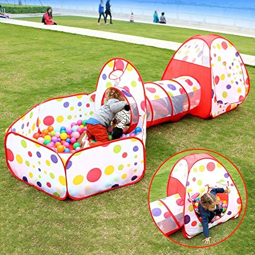 Kinderspielzelt mit Spielhaus Tunnel, 3PCS Bällebad Spielhaus Tunnel Kinder Spielen Zelt Babyzelt mit Ball Pit, Basketball Box und Crawler Tunnel für Haus und Garten