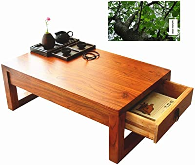 Coffee Tables Solid Wood Tatami Table Bay Window Table Coffee Table Small Balcony Table Japanese-Style Chinese Calligraphy Table Tables (Color : Wood, Size : 70 * 40 * 30cm)