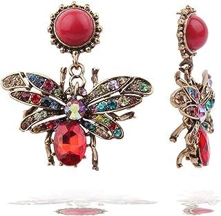 Crystal Animal Drop Earrings – Vintage Rainbow Dangle Earrings, Bee, Dragonfly, Spider, Antique Statement Earrings Handmade, Gift Idea for Women, Girl, Lover, Sister, Halloween