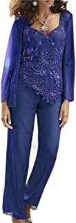 Mother of The Bride Pants Suits with Jacket V Neck for Wedding