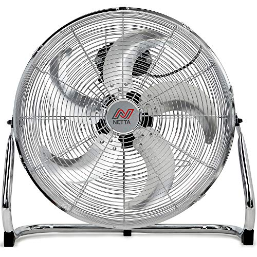 NETTA Gym Floor Standing Fan - 18' With 5 Blades - 3 Speeds And Tilt Option, Wall Mount Fixing Include - Chrome