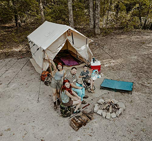 Outdoor Waterproof Canvas Wall Tent w/Heavy Duty Aluminum Frame, Angle Kits & PVC Floor Best Tents for Large Groups, Families & Outfitters, 4 Season Hunting & Camping (14'x16', Fire Water Repellent)