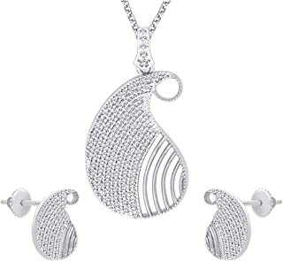 Viyari Turkish Paisley Cubic Zirconia Pendant Necklace Earrings Jewelry Set