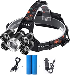5000LM LED Headlamp 5LED T6 Headlamp Waterproof Main Flashlight 2 18650 Batteries Camping Fishing Flashlight