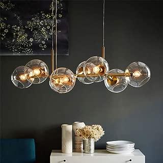 WSXXN Chandelier Lighting 8 Light Ceiling Lamp Nordic Modern Magic Bean Pendant Lamp with Globe Glass Shade, Industrial Pendant Light Fixture for Kitchen Dining Room Living Room Foyer
