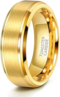 TRUMIUM 6mm 8mm Mens Womens 24K Gold Tungsten Wedding Ring Band Brush Finish Scratch Resistant Comfort Fit Size 5-14