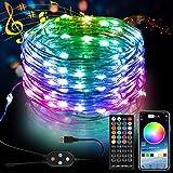 5M 50 LED Bunt Lichterkette Innen, 16 Farbe 8 Modus USB Kupferdraht Lichterkette mit Fernbedienung und Bluetooth Kontroller Sync zur Musik, Anwendung...