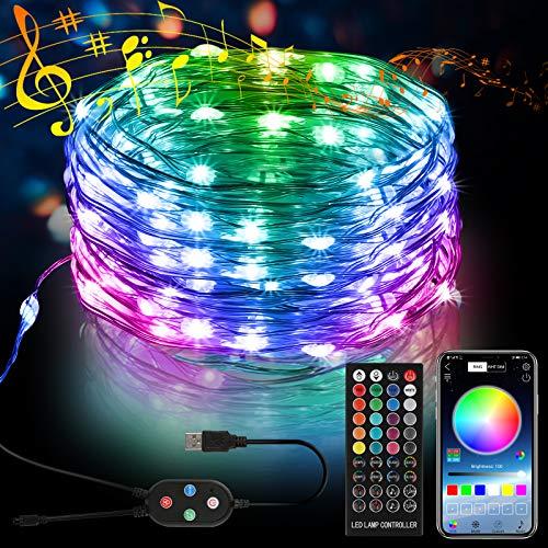 5M 50 LED Bunt Lichterkette Innen, 16 Farbe 8 Modus USB Kupferdraht Lichterkette mit Fernbedienung und Bluetooth Kontroller Sync zur Musik, Anwendung für Schlafzimmer, Party und Feriendekoration
